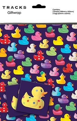 Gift Wrap Present Wrapping Paper Cute Rubber Ducks On Purple With Matching Tags