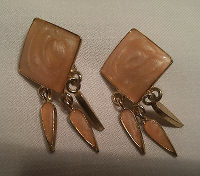 Vintage Pink Diamond & Gold with Dangle Clip Earrings