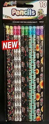 Sugar Skull Day Of the Dead Pencils set of 10 NEW