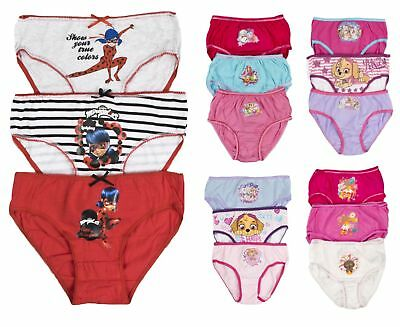 3 Pairs Girls Character Underwear 100% Cotton Knickers Briefs Infants Kids Size
