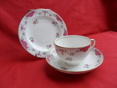 Cauldon, vintage Rose Bud  Tea Trio (Teacup, Saucer & Teaplate)