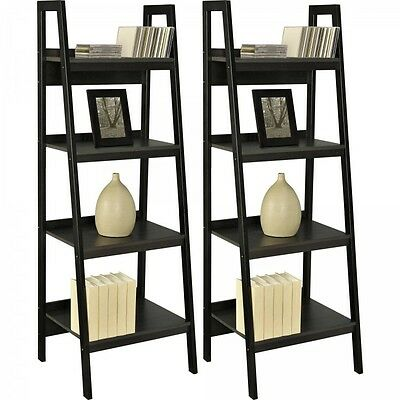 Black Ladder Shelf Set Metal 2 Pc Bookcase Living Room Kitchen Shelves Book Rack