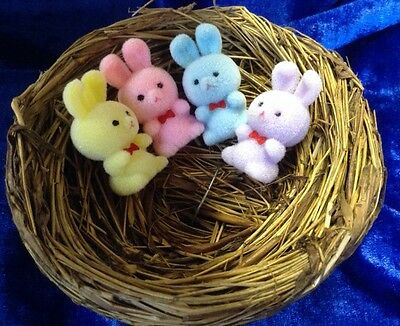 vintage style fuzzy bunnies easter bonnet easter decoration new x4 egg hunt