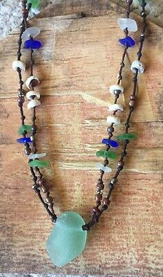 "Beach Bum Sea Glass Necklace 22"" Hand Made Surf Tumbled Puka Hawaii Blue Green"