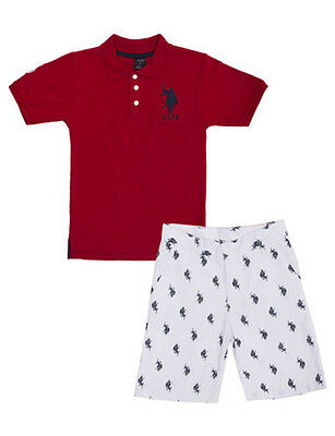 U.S. Polo Assn Toddler/Little Boys S/S Red Polo 2pc Short Set 2T 3T 4T 4 5 6 7
