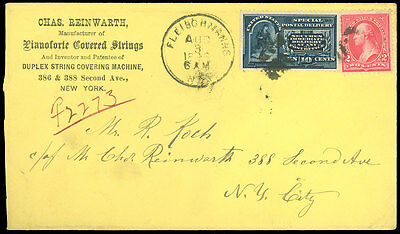 1896 NY, CHAS REINWARTH Mfr PIANO FORTE COVERED STRINGS, Special Delivery #E4 /5