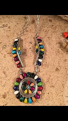 Navajo Multi-Stone & Sterling Silver Necklace Signed