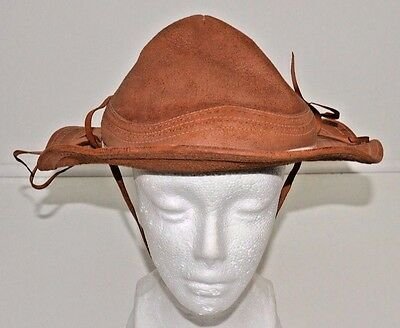 Vintage Childs Brown Leather Hat Brim Chin Strap Hand Made Costume