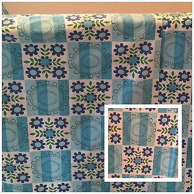 Vintage 1950/60s Curtains/Fabric-Pair-Blues