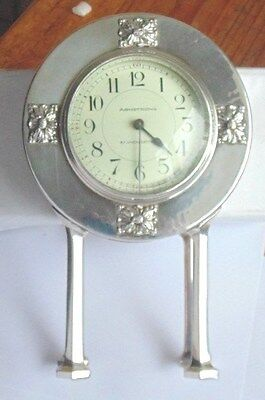 Vintage Liberty's Style Art NouveayWhite Metal Mantel Clock Armstrong Manchester
