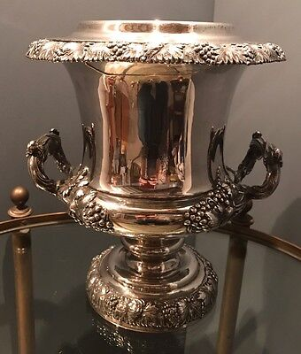 Antique 19th Century Sheffield Silver Plate Grape Wine Cooler Campagna Georgian