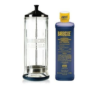 Barbicide LARGE Glass Jar & Barbicide Disinfectant Solution 473ml