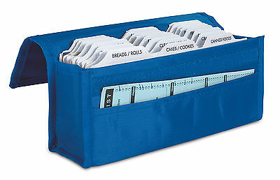Blue Expandable Coupon Storage Organizer for 300 Coupons w Front Pocket Storage