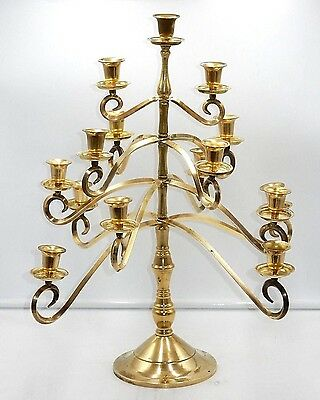 "ANTIQUE 1920's SOLID BRASS 15-ARM CANDLE HOLDER 20"" CANDELABRA CENTERPIECE"