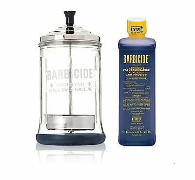 Barbicide MEDIUM Glass Jar & Barbicide Disinfectant Solution 473ml