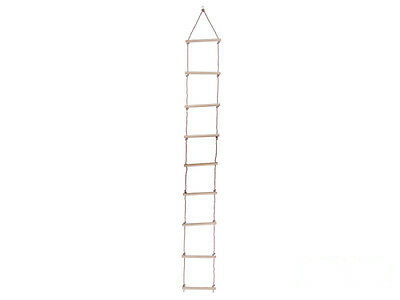 Kids Rope Ladder with 9 Wooden Rungs Outdoor Climbing Frame Tree Swing Frames