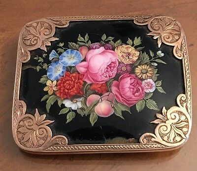Victorian 10k Solid Gold Frame Painted Flower Brooch Pin 37.3 Grams