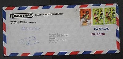 Barbados 1980 Registered airmail cover with 45c/50c IYOC-nice backstamps,SC521-2