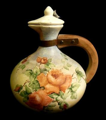 Antique Hand Painted Rose Theme Victorian Pitcher Wooden Handle