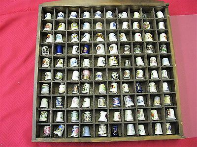 Vintage Thimble Lot of 100 in Wooden Case