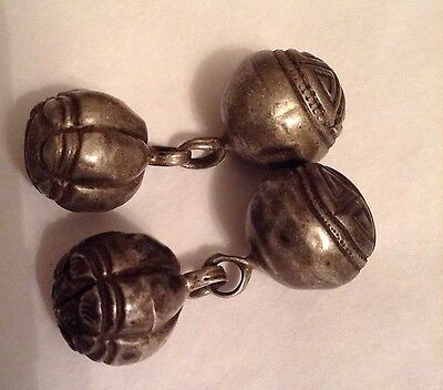 Antique Chinese Silver 2 Pairs Of Robe Shou Buttons Bells 19th C