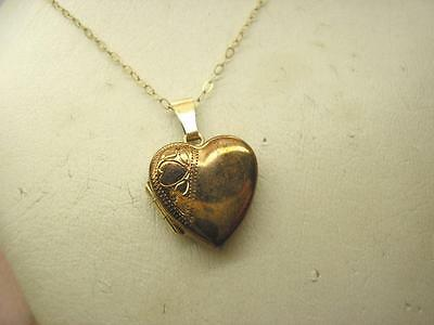 Vintage 9ct Gold Heart Shape Opening Locket & Chain