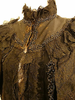 Antique Victorian Mourning Caplet Cape 1800's Black Beads lace Stand up collar