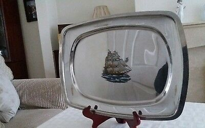 vintage stainless steel tray with picture of a ship