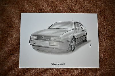 Volkswagen Corrado VR6 pencil drawing print
