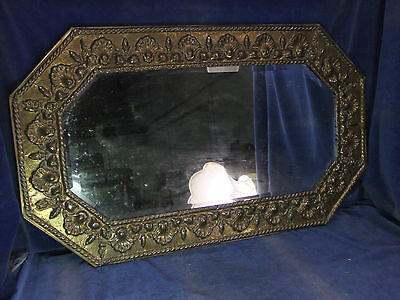 Vintage Brass Framed Octagonal Bevelled Edge Mirror - Early 20th C [2506]
