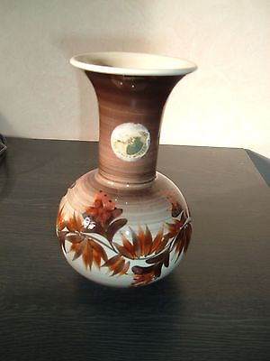 JERSEY POTTERY GLOBULAR VASE painted leaves and flowers