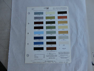 Ditzler paint chip page 1972 Lincoln Continental Mark IV & Ford Thunderbird