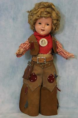 "17"" Shirley Temple Doll Texas Ranger Centennial Cowgirl Costume 1936 WOW!"