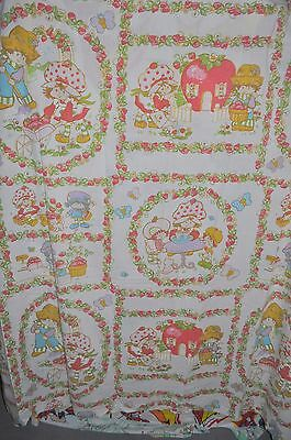 -STRAWBERRY SHORTCAKE vintage FLAT BED SHEET 1980s fabric SSC-