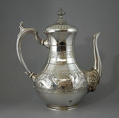 Impressive highly decorative antique Victorian silver plated coffee pot