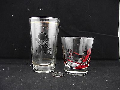 2 Bowling Glasses Federal And S?  Black And Red