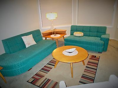 Mid Century 1950's Sectional Sofa Couch with Heywood Wakefield Corner Table