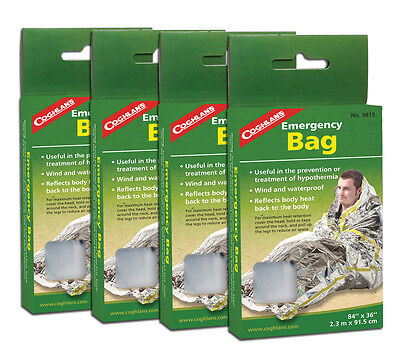 Coghlans Emergency Thermal Sleeping Bags Family 4 pack of Survival Bivy Sacks