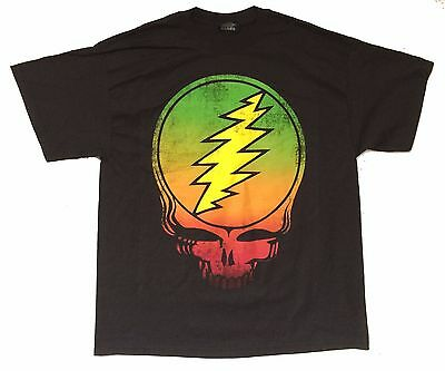 Grateful Dead Big Skull Classic Rasta Colors Black T Shirt New Official Zion
