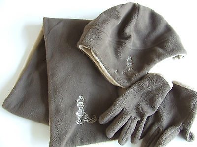 4-8 Years, Hat, Scarf & Gloves Set, Brown Fleece with Dinosaur Motif, by George