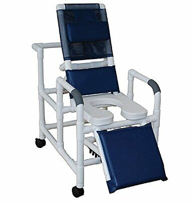 MJM International 193-SSDE Reclining Shower Chair with Elevated Leg Extension oz