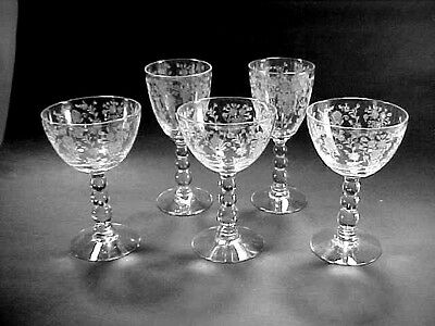 "Duncan & Miller Crystal ""First Love"" Etched - Wine / Cordial Glasses, Ball Stem"