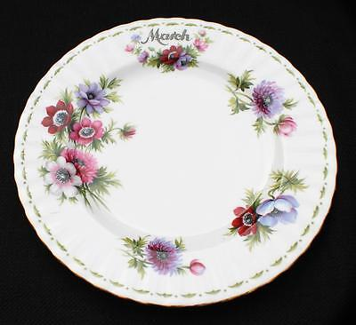 "ROYAL ALBERT Bone China England Flowers MONTH ANEMONES MARCH 8 1/4""d Salad Plate"
