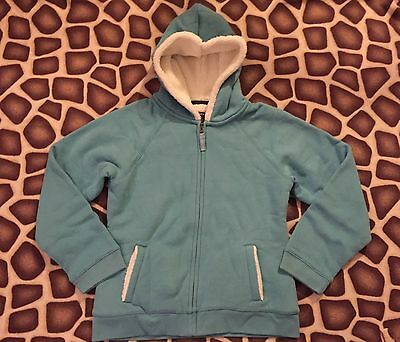 Lands' End girl's sherpa fleece lined font zip jacket in size 10/12-NEW!