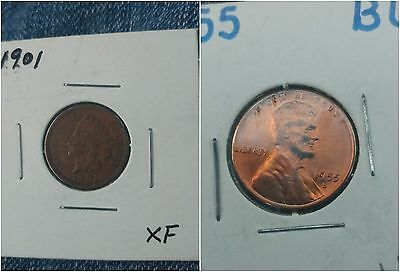 1901 Xf & 1955 S   Lincoln Wheat & Indian Head Cent Nice Penny See Pics