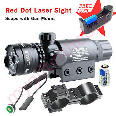 Tactical Red Laser Sight Hunting Rifle Dot Scope With Battery&Charge w/ Mounts