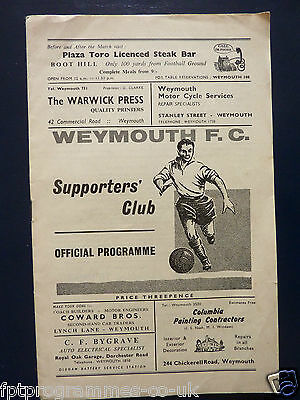 Match Programme Weymouth v Hereford Utd 1964/65
