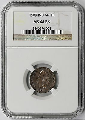 1909 Indian Head Penny 1C MS 64 BN Brown NGC