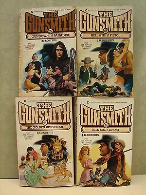 """Lot Of 4 Western """"The Gunsmith Series""""  Paperback books, By J. R. Roberts"""