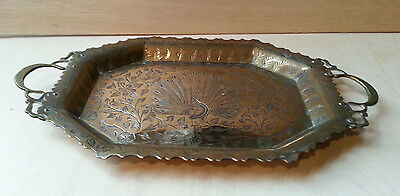 Vintage Brass Tray - Peacock Design - Made in India - Lion Mark